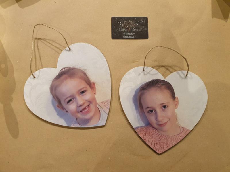 2 stuks, foto op hout hartje
