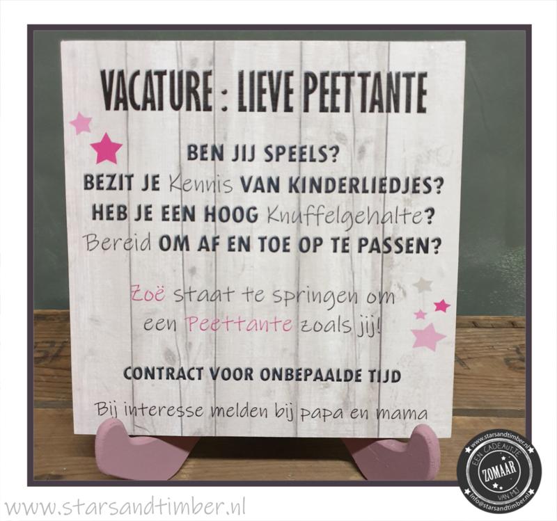 Vacature: Peettante, persoonlijk met naam