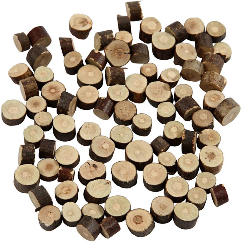50 houten boomschijf mini +/- 10 mm