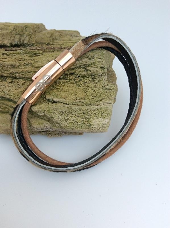 Lederen armband met rosé verguld slot