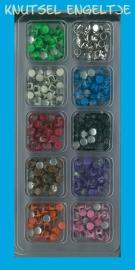 Box 1 mit 10 Verschiedene farben Zierknöpfe dunkle Farben