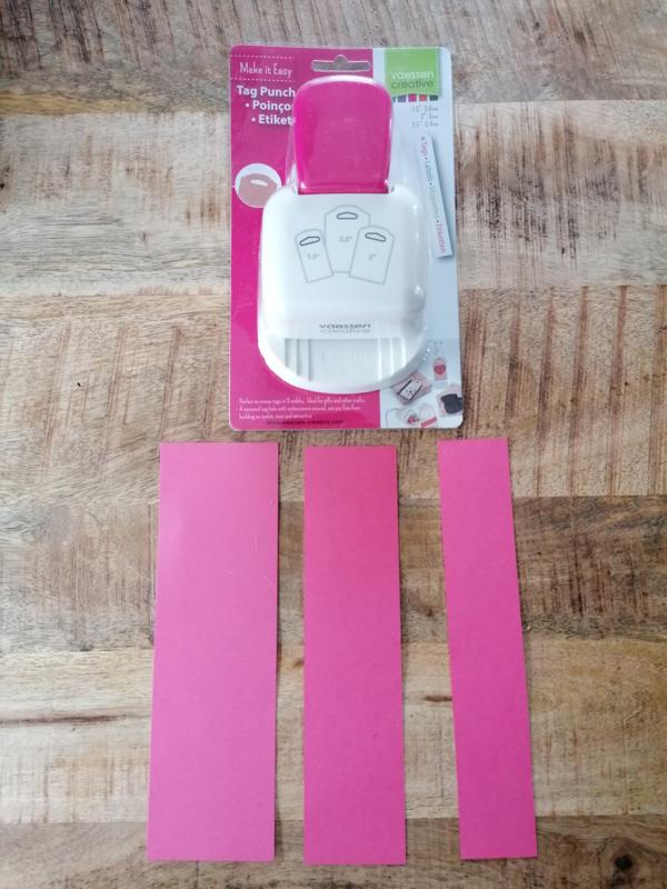 """Stanzer 3-in-1 Hang tag 1,5 """" , 2 """" en 2/5 """" und 6 passende Packungen mit 240 Gramm Papier"""