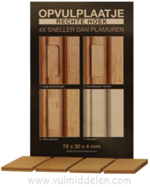 Opvulpaatjes 4 stuks voor deur scharnier gaten rechte hoek 76 x 30 x 4