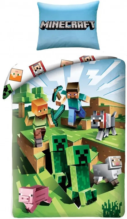 Minecraft dekbedovertrek met Steve, Sheep, Pig en Creeper