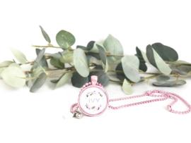Girl ketting roze met naam