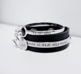 Set Papa armband + Birth Bracelet