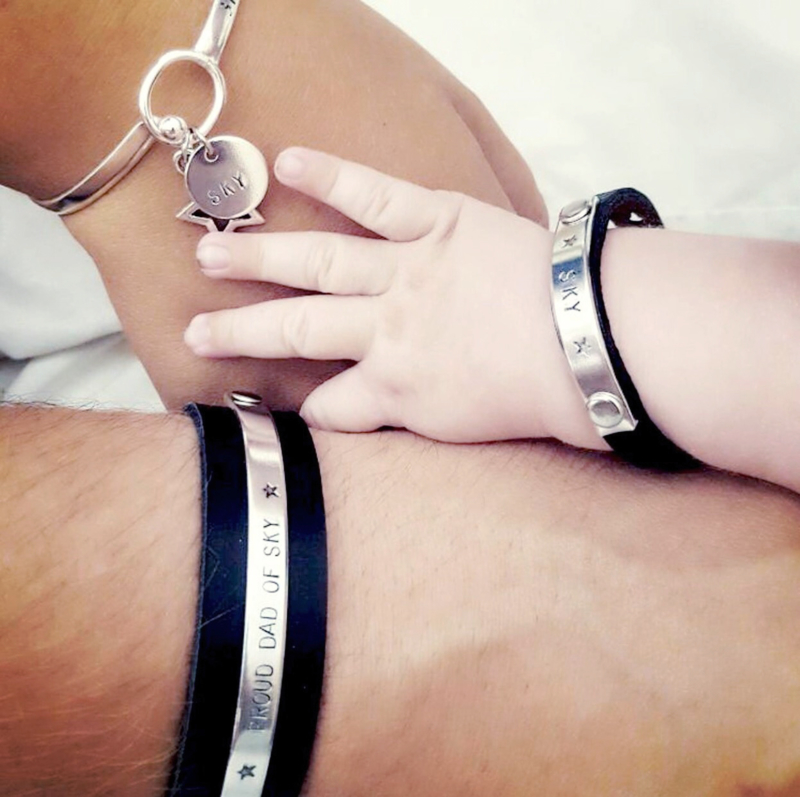 Papa armband + Birth Bracelet + 1x Kinderarmbandje