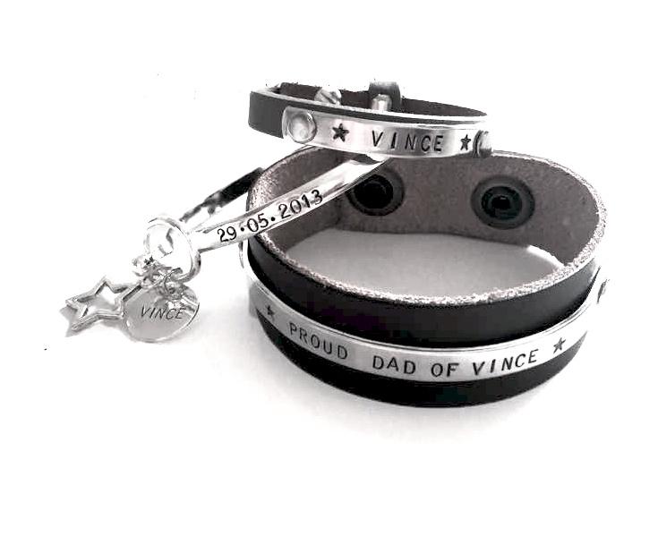 Papa armband + 2x Birth Bracelet + 2x Kinderarmbandje
