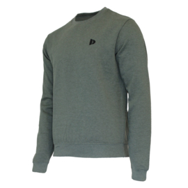 Donnay Heren - Fleece Crew Sweater Dean - Donkergroen gemêleerd