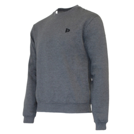 Donnay Heren - Fleece Crew Sweater Dean - Donkergrijs gemêleerd