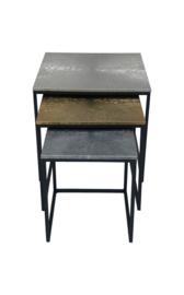 Salontafel Fletcher Vierkant - Aluminium/Ijzer - set van 3