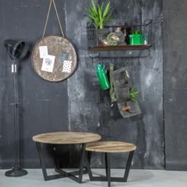 Ronde salontafelset industriële stijl met kruisonderstel