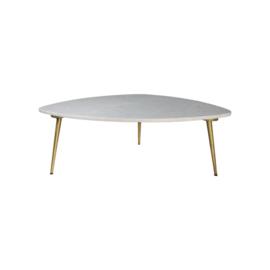 Salontafel - 90x60x36 cm - wit marmer/goud