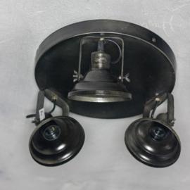 Plafonniere metaal silver black 31x17cm
