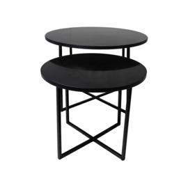 Ronde Salontafel - ø61x45/ø46x39 - zwart marmer - set van 2