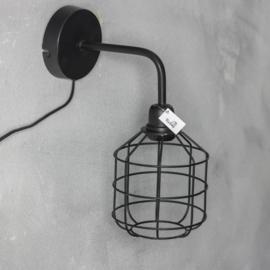 Wandlamp zwart metaal 34x27x15cm