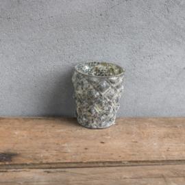 Waxinelichtje / plantenpotje marble grey (xb2618)