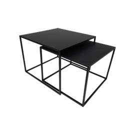 Vierkante Salontafel - 55x55x42/50x50x37 - zwart -metaal - set van 2