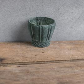 Waxinelichtje/ plantenpotje marble green (xb2651)