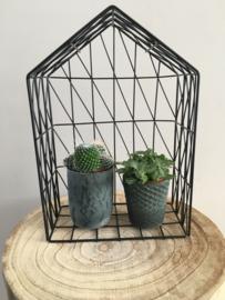 Waxinelichtje / plantenpotje marble green hoog (xb2650)