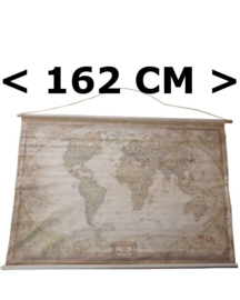 Oude Wereldkaart op doek groot 162x107cm