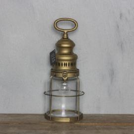 Windlicht metaal inclusief lamp 13x32cm