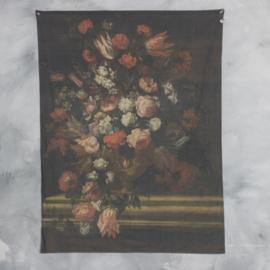 Wanddoek vaas met bloemen 120x160cm