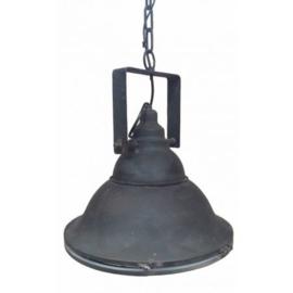 Industriële metalen hanglamp met glas (MF041)