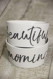 Schaaltje wit met beautiful Morning in zwart