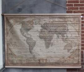 Oude Wereldkaart op doek 90 x 60 cm