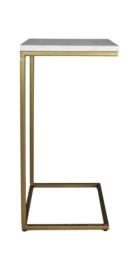 Bijzettafel Read - 32x32x65 - Zwart/goud - Zwart marmer/ijzer
