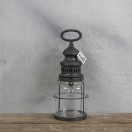 Windlicht metaal inclusief lamp 12x32cm