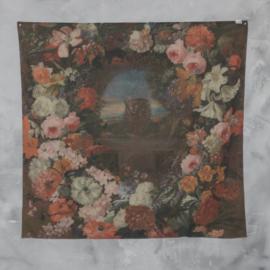 Wanddoek bloemenvaas 150x150cm