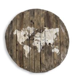 Wereldkaart houten paneel