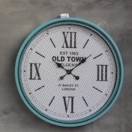 """Klok """"Old town""""blauw metaal met gaas 78cm"""