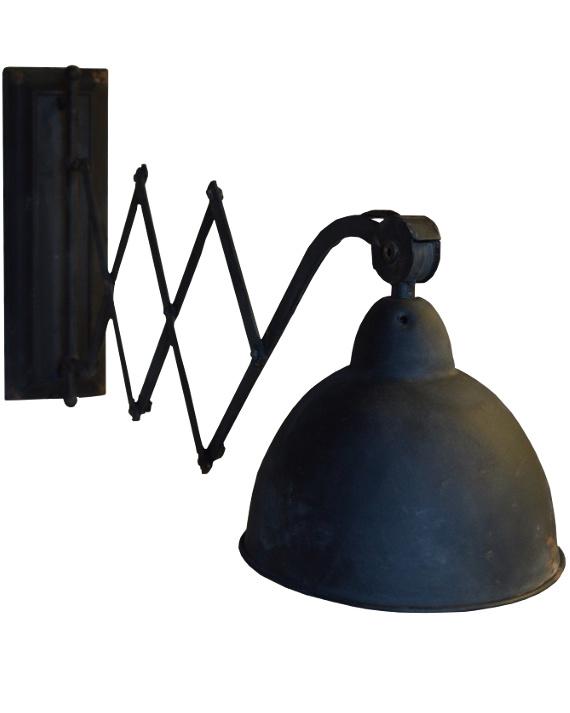 Uitrek lamp industrieel metaal zwart (mf032)