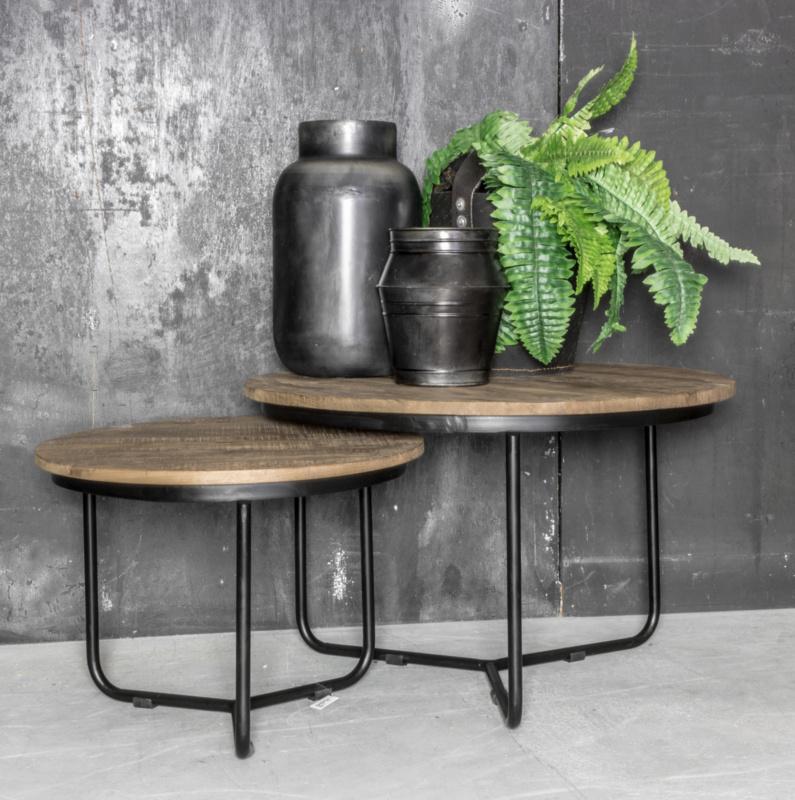 Salontafel metaal met hout set van 2