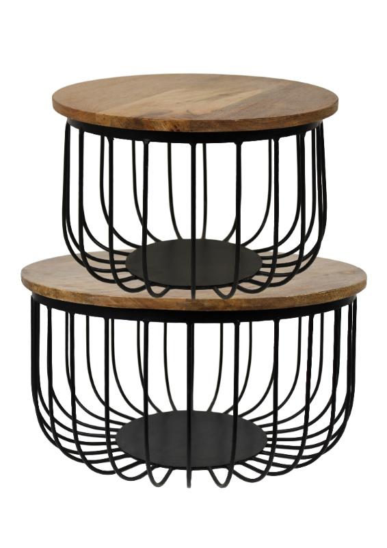 Salontafel set Maden - houten blad/zwart metaal -