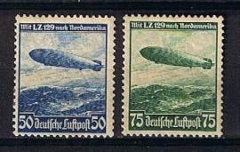 Michel 606/607 luftschiffs Hindenburg postfris met org. gom. cat waarde 50,-
