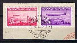 Zeppelin 1936 michel 149/150 gebruikt op briefstukje. cat waarde 240,00