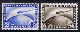 Michel 423/424 Zeppelin postfris met fotocertificaat. cat waarde 420.00