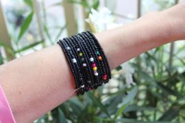 Kraaltjes armband ZWART MULTICOLOR Ibiza Hippie Chic - one size - Beaded bracelet Ibiza Hippy Chick style BLACK MULTICOLOR