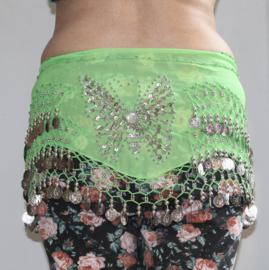 Vlinder buikdans muntjesgordel GROEN ZILVER - Butterfly decorated bellydance coinbelt GREEN SILVER