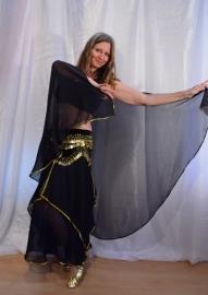 Rok orientaals tulpmodel ZWART GOUD - bellydance skirt BLACK GOLD rimmed