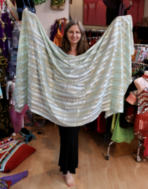 Gestreepte sluier MINT GROEN GOUD Marokkaanse stijl, rechthoekig - 250 cm x 110 cm - Striped veil MINT GREEN GOLD Moroccan style, rectangular