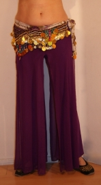 Stretch Broek met overrok 4 splitten PAARS oefenkleding - one size - Stretch pants with transparent skirt overlayer PURPLE
