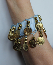 Muntjes armband LICHT BLAUW GOUD - Small Medium - Coin bracelet LIGHT BLUE GOLD