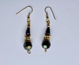 Gothic chique oorbellen diep DONKERPAARS GOUD 5-hoek kristal - Gothic earrings DEEP PURPLE GOLD