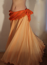 2-lagen rok met golvende zoom ZACHT ORANJE -  M, L, XL - 2 layer skirt SOFT ORANGE with undulating hem - Jupe doublée ORANGE