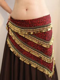Luxe panter jungle buikdanssjaal driehoekig ROOD ZWART GOUD - LGPanterJungle - Posh bellydance coinbelt RED BLACK GOLD triangular Panther Jungle